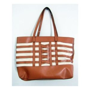 Stella & Dot Faux Leather and Canvas Tote
